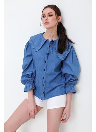 Pink Park Yakası Detaylı Hean Jean Gömlek ESQ0012 Mavi